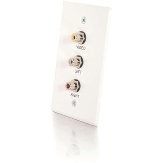 C2G Single Gang Composite Video + Stereo Audio Wall Plate - White Bru