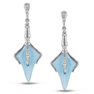 Miadora Signature Collection 14k White Gold Blue Topaz and 1/3ct TDW Diamond Earrings (G-H, SI1-2)