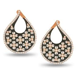 Miadora Signature Collection 18k Pink Gold 2 1/10ct TDW Floral Diamond Earrings