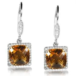 Annello by Kobelli Sterling Silver and 14k Gold Citrine and 1/2ct TDW Diamond Earrings (H