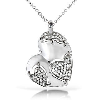 Annello by Kobelli 18k White Gold 7/8ct TDW Diamond Heart Necklace (G-H, VS1-VS2)
