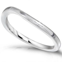 Annello by Kobelli High-polish 14k White Gold Curved-design 1.6mm-wide Wedding Band - Thumbnail 1
