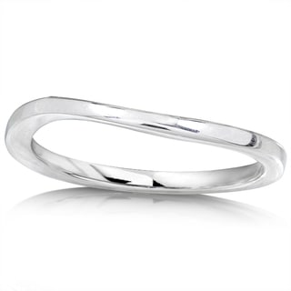 Annello by Kobelli High-polish 14k White Gold Curved-design 1.6mm-wide Wedding Band