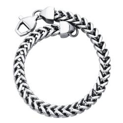 Ever One Stainless Steel Men's 8.5-inch Square Wheat Link Bracelet - Thumbnail 1