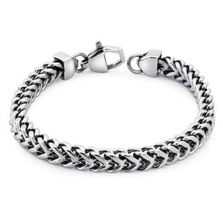 Ever One Stainless Steel Men's 8.5-inch Square Wheat Link Bracelet|https://ak1.ostkcdn.com/images/products/6148515/P13808123.jpg?impolicy=medium