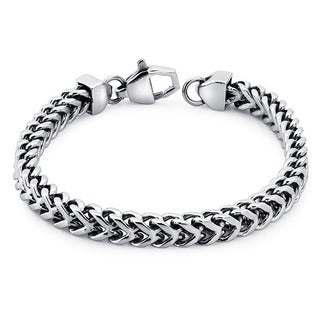 Ever One Stainless Steel Men's 8.5-inch Square Wheat Link Bracelet