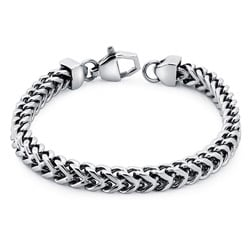 Stainless Steel Men's 8.5-inch Square Wheat Link Bracelet By Ever One