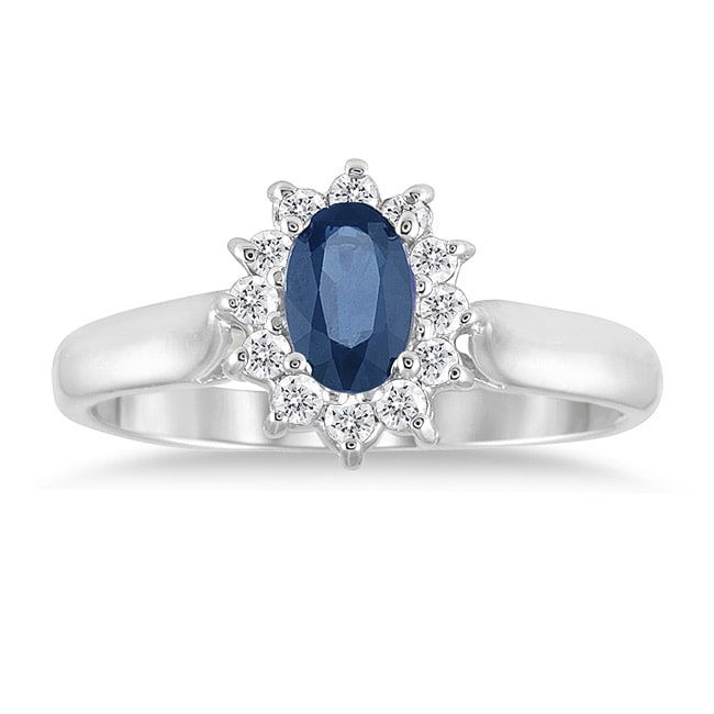 Marquee Jewels 10k White Gold Sapphire and 1/5ct TDW Diamond Ring (J-K, I1-I2)