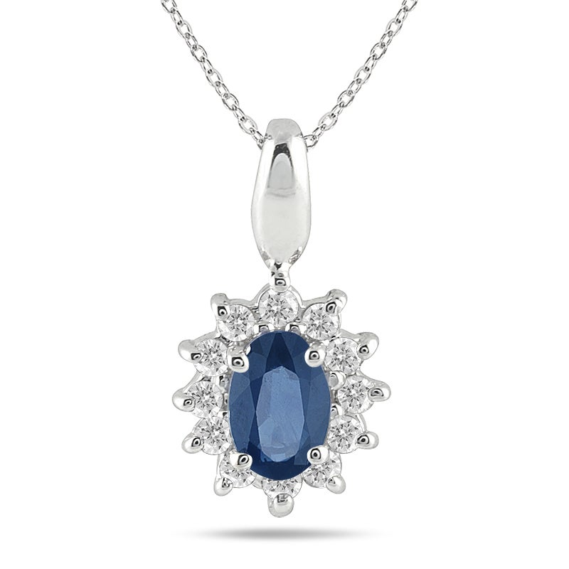 Marquee Jewels 10k White Gold Sapphire and 1/5ct TDW Diamond Necklace (J-K, I1-I2)