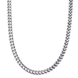 Stainless Steel Men's 24-inch Square Wheat Chain Necklace By Ever One