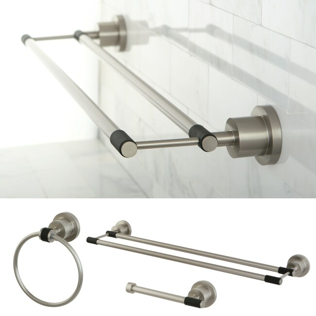 Satin Nickel Piece Double Towel Bar Bathroom Accessory Set