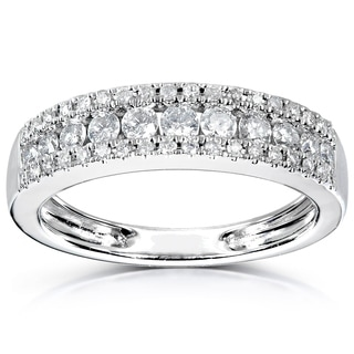 Annello 14k White Gold 1/2ctTDW Diamond Anniversary Band