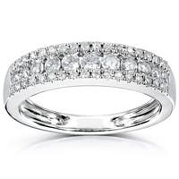 Annello by Kobelli 14k White Gold 1/2ct TDW 3-row Diamond Anniversary Band