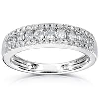 Annello by Kobelli 14k White Gold 1/2ct TDW Multi 3-row Diamond Womens Anniversary Band