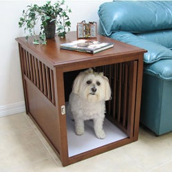 Crown Pet Mahogany Rubberwood Large Pet Crate End Table