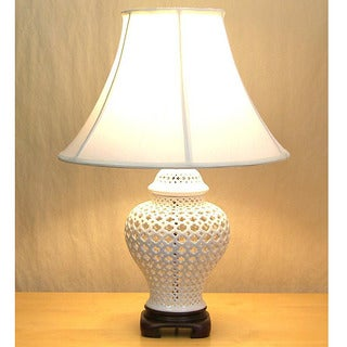 Crown Lighting 1-light Openwork White Lace Porcelain Table Lamp