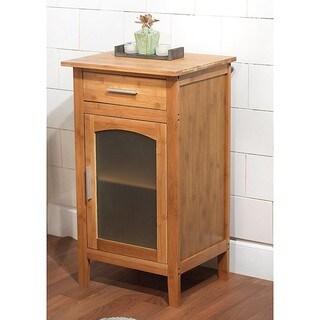 Simple Living Bamboo Glass Door Linen Floor Cabinet