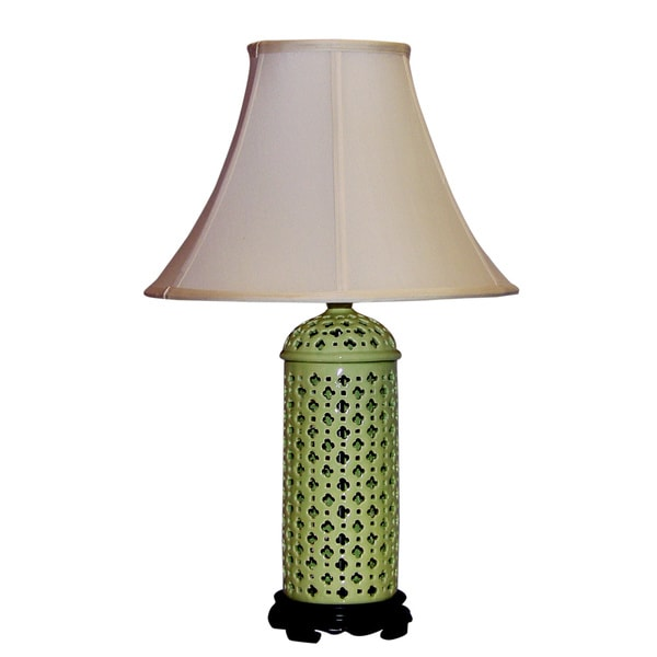 Light Green Openwork Porcelain Table Lamp