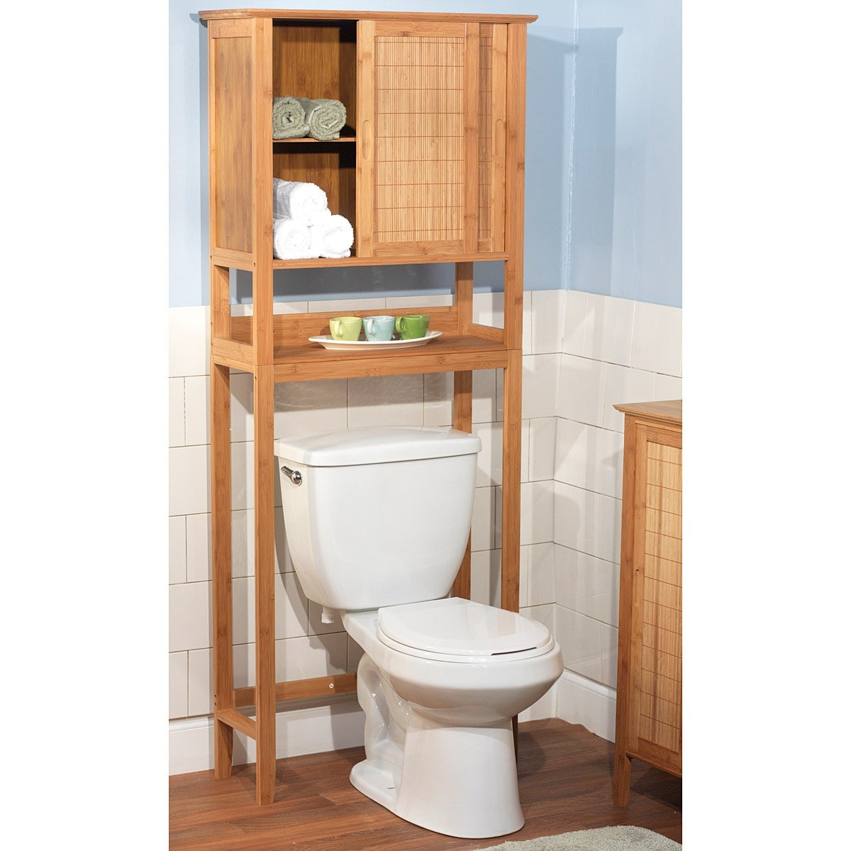 Over The Toilet Storage Space Saver Wall Cabinet Bamboo Bathroom ...