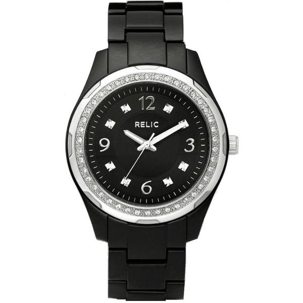 Shop relic women 39 s 39 starla 39 black resin watch free shipping on orders over 45 for Black resin ladies watch