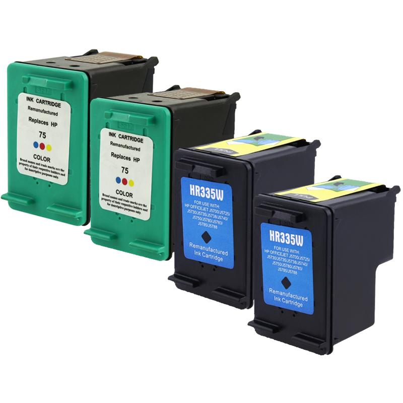 INSTEN 4-pack HP 74/ 75 Black CB335WN Color CB337WN Ink Cartridge (Remanufactured)