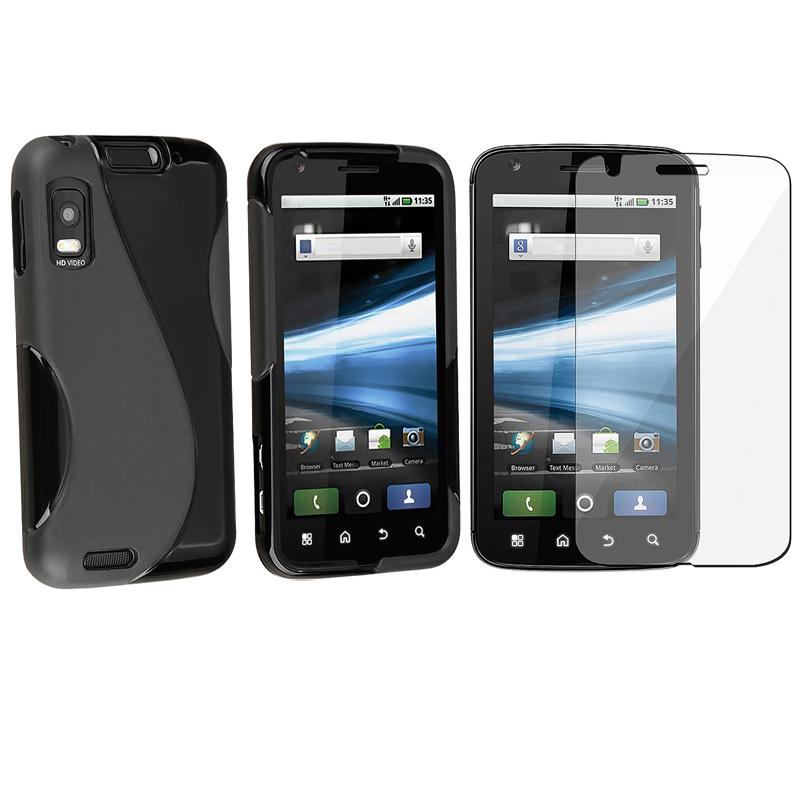 INSTEN Frost Black TPU Phone Case Cover/ Screen Protector for Motorola Atrix 4G MB860