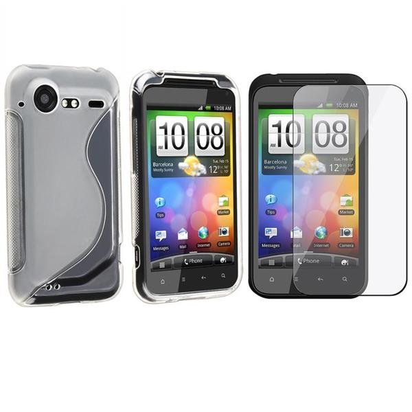 INSTEN White Frost TPU Phone Case Cover/ Screen Protector for HTC Droid Incredible 2/ S