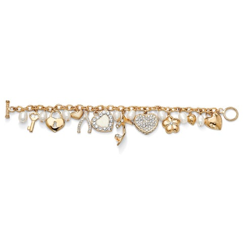 Gold Tone Charm Bracelet Crystal and Cultured Freshwater Pearl, 8""