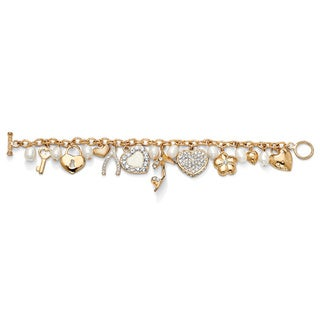 Fashionista Cultured Freshwater Pearl and Crystal Charm Bracelet in Yellow Gold Tone Bold