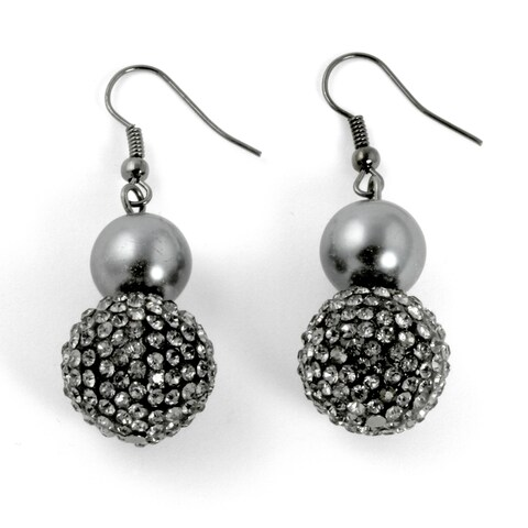Black Ruthenium-Plated Drop Earrings (31x16mm) Round Crystal Simulated and Grey Pearl