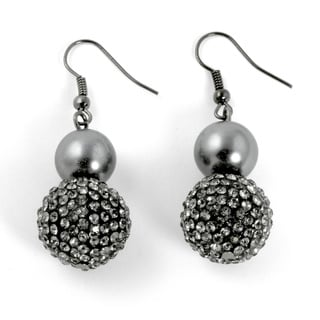 PalmBeach Grey Pearl and Multi-Crystal Accent Black Rhodium-Plated Drop Earrings Bold Fashion