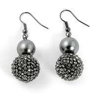 Grey Pearl and Multi-Crystal Accent Black Rhodium-Plated Drop Earrings Bold Fashion