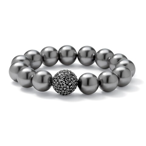 "Grey Pearl and Multi-Crystal Accent Black Rhodium-Plated Stretch Bracelet 8"" Bold Fashion"