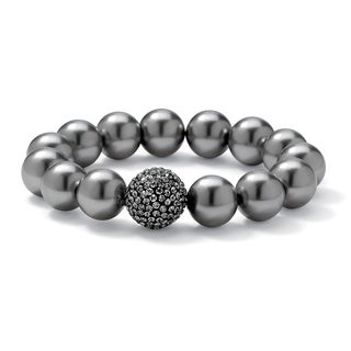 "Grey Pearl and Multi-Crystal Accent Black Rhodium-Plated Stretch Bracelet 8"" Bold Fashion"