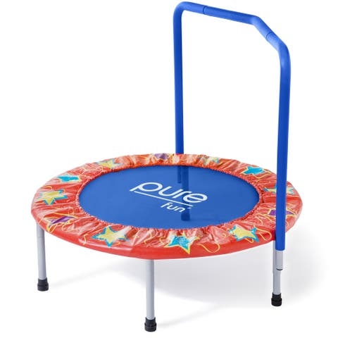 Pure Fun 36-inch Kids Trampoline with Handrail