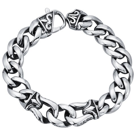 Stainless Steel Men's Fleur de Lis 8.5-inch Curb Link Bracelet By Ever One