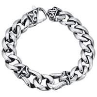 Stainless Steel Men's Fleur de Lis 8.5-inch Curb Link Bracelet By Ever One