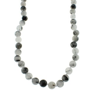 Pearlz Ocean Black Rutilated Quartz Knotted Endless Necklace Jewelry for Womens