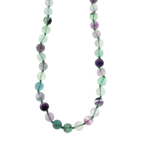 Pearlz Ocean Fluorite Round Beads Knotted Endless Women Necklace