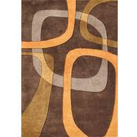 Alliyah Handmade Brown New Zealand Blend Wool Rug - 5' x 8'
