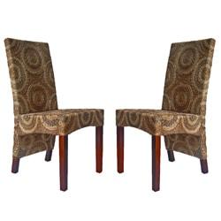 Set of 2 Sally High-back Mahogany Frame Abaca Chairs - Thumbnail 1