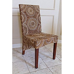Set of 2 Sally High-back Mahogany Frame Abaca Chairs