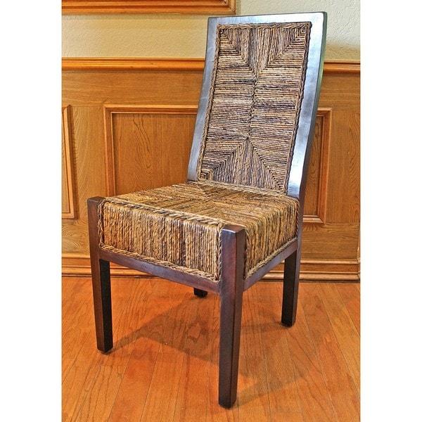 Shop Dallas High-back Mahogany Abaca Chairs (Set Of 2