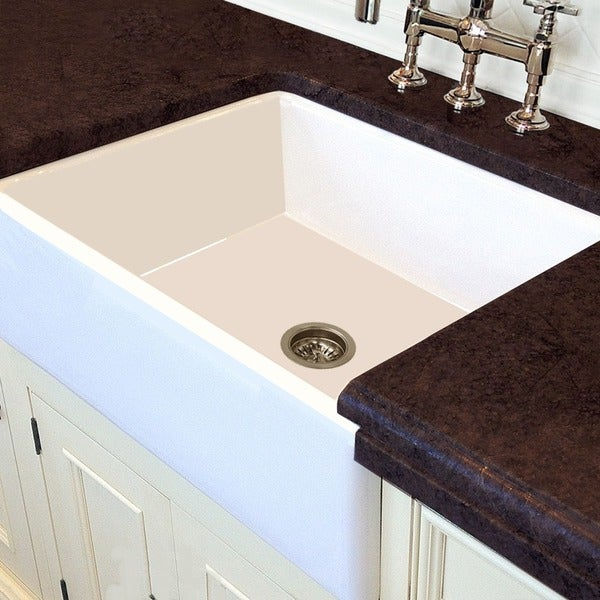 White Italian Fireclay 30-inch Farmhouse Kitchen Sink