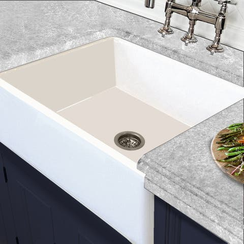 "White Italian Fireclay Reversible Farmhouse Kitchen Sink - 29.75"" x 18"" x 10"""