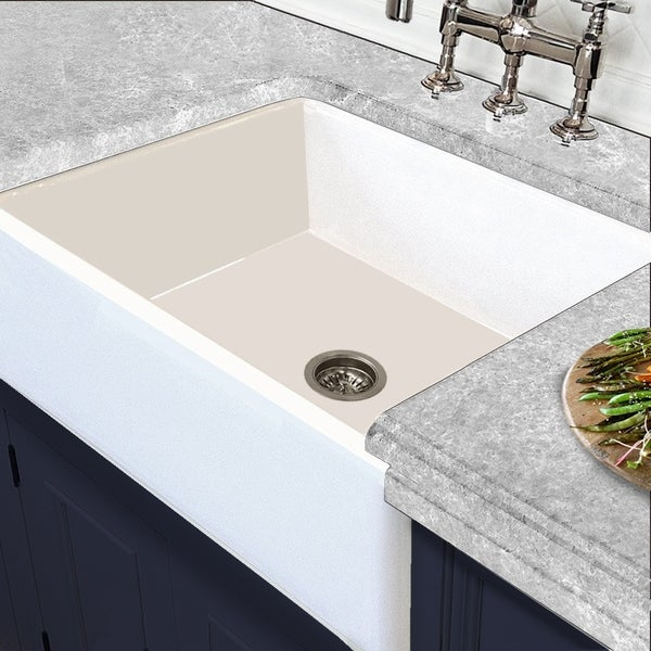 White Italian Fireclay Reversible Farmhouse Kitchen Sink
