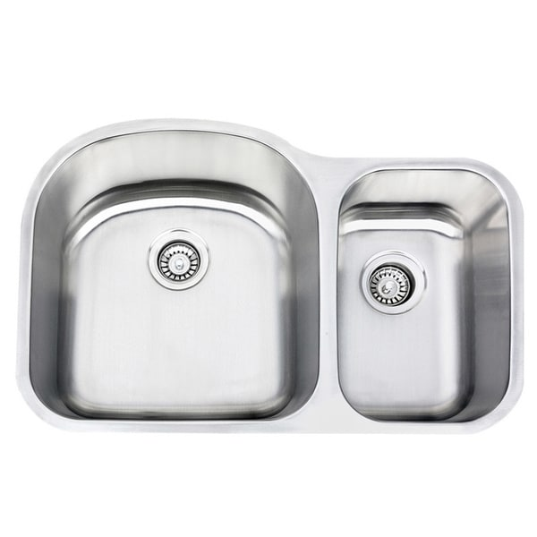 18 Gauge Stainless Steel Undermount 70/30 Ratio Double Bowl Kitchen Sink