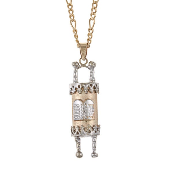 14k two tone gold torah scroll necklace free shipping today 14k two tone gold torah scroll necklace mozeypictures Gallery