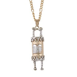 14k Two-tone Gold Torah Scroll Necklace