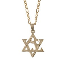 14k Yellow Gold Star of David 'Love' Necklace